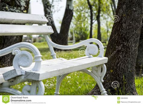 bench srbija white iron park bench stock image image of forest tree