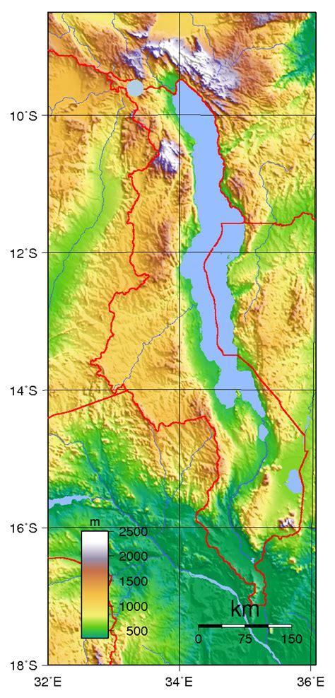 geographical map of malawi malawi physik karte