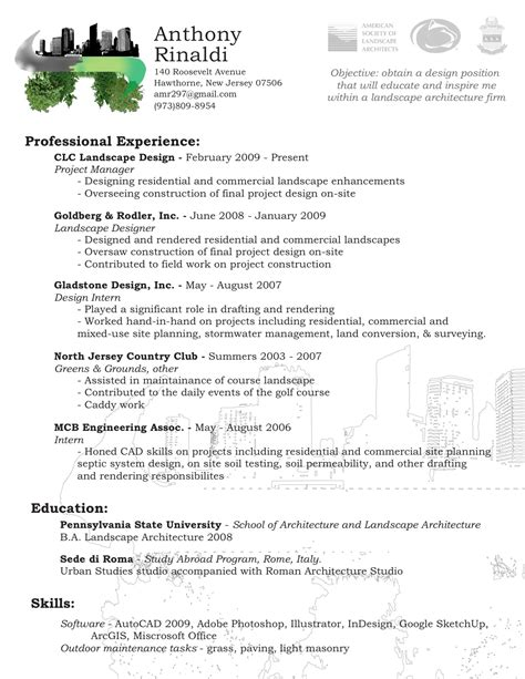 Landscape Architecture Resume Exles Landscape Architect Resume Templates Bathroom Design