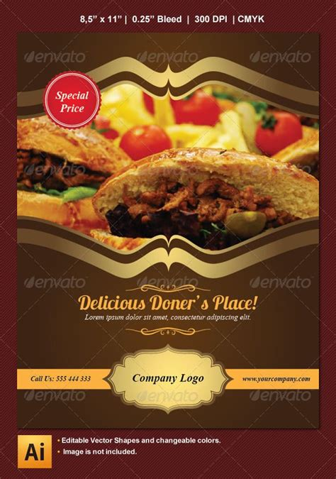 free templates for restaurant flyers food and restaurant flyer adobe illustrator advertising