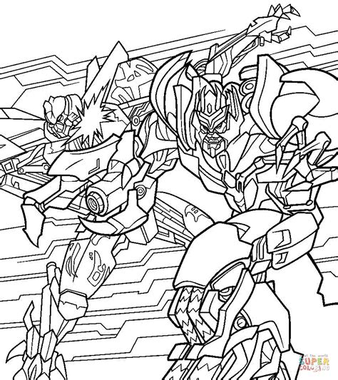 fight of optimus and megatron coloring page free