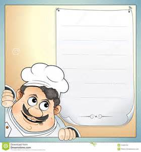 illustration of cute chef with blank menu for your own text more