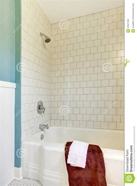 Bathtub Sounds Shower Tub White Classic Tile And Blue Wall Stock Photo