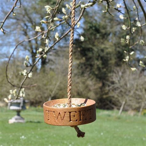 solid oak bird feeder by the oak rope company