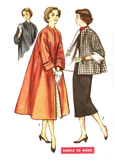 pattern sewing coat simplicity 4191 misses vintage 1950s swing coat or topper