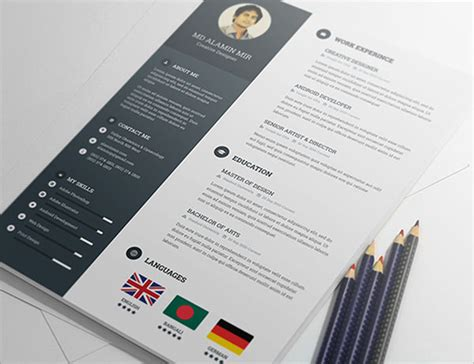 Resume Template Psd 20 Best Free Resume Cv Templates In Ai Indesign Psd Formats