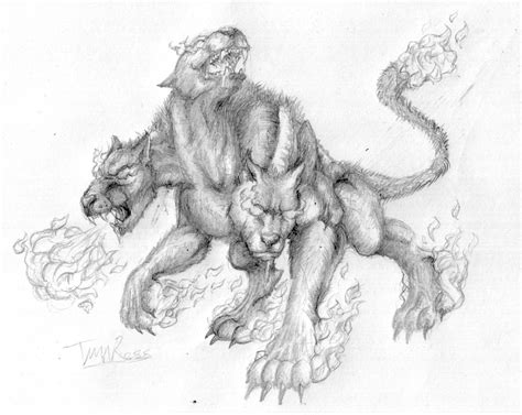 flame cerberus sketch by ninjatroopah on deviantart