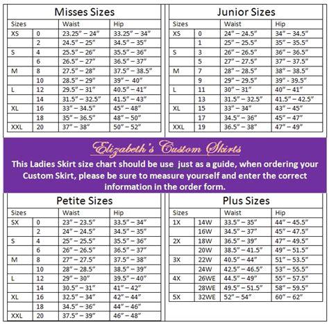 skirt size chart elizabeth s custom skirts