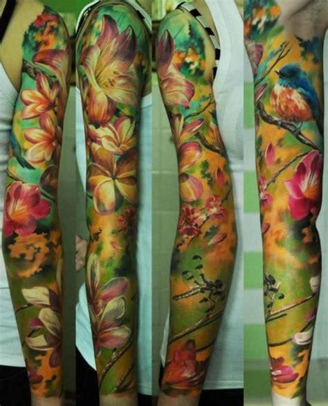 tattoo sleeve love tropical flower and bird themed sleeve tattoos
