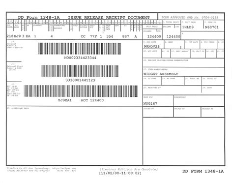 dd form 1a template dd1348 1a issue release receipt document