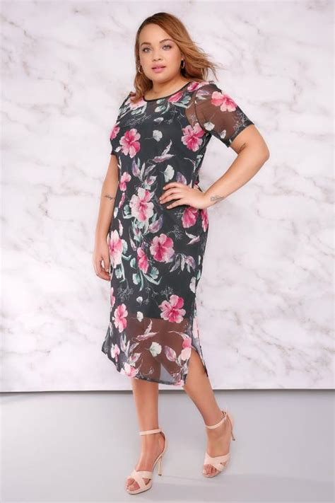 Midi Dress Valena Murah Limited limited collection black pink floral mesh midi dress with side splits plus size 16 to 32