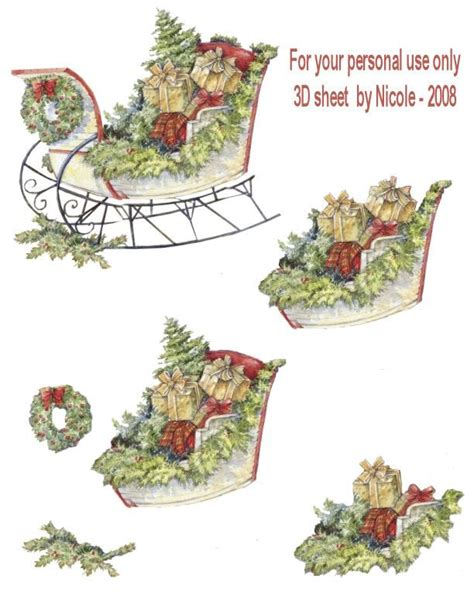 3d Decoupage Paper - sleigh for 3dee
