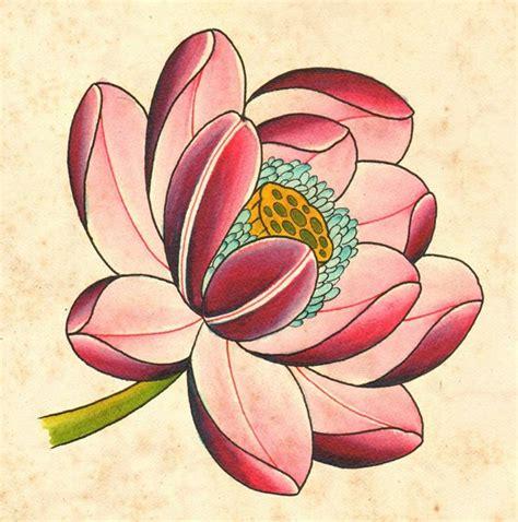 超级好看的莲花纹身手稿第3页