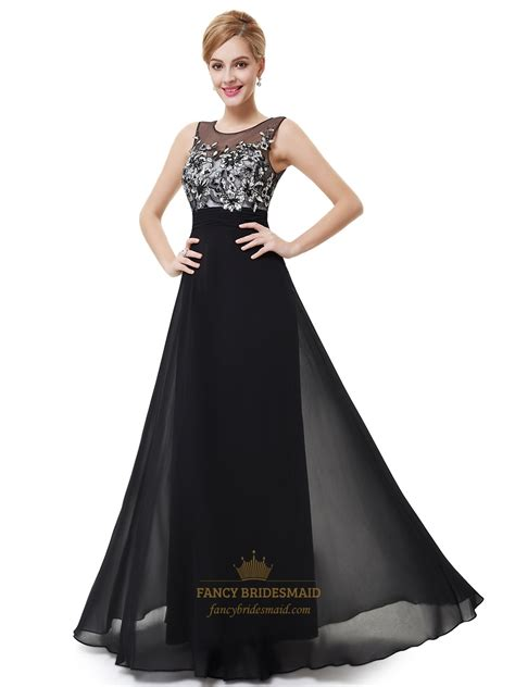 black chiffon open back floor length prom dress with
