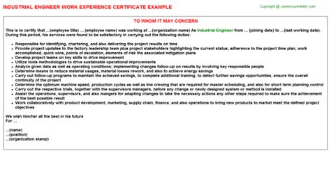 Experience Letter With Description Industrial Engineer Work Experience Certificate