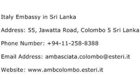 Sri Lanka Address Search Italy Embassy In Sri Lanka Address Contact Number Of Italy Embassy In Sri Lanka