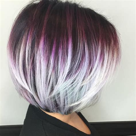 short hairstyles with peekaboo purple layer 40 layered bob styles modern haircuts with layers for any