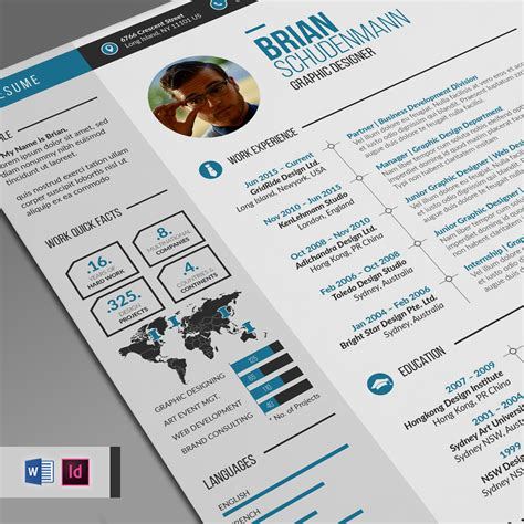 infographic resume template cover letter ms word