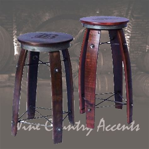 Wine Barrel Swivel Bar Stools by 2 Day Designs Wine Barrel Stave Bar Stool Swivel Top