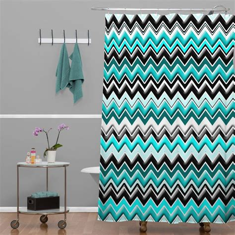 madart  turquoise black white chevron shower curtain