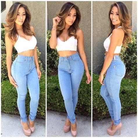 Light Blue Laces Riped Sobek Tembus Renda ripped denim top bralette summer style high waisted