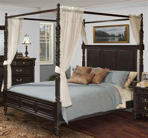 Black King Canopy Bed Martinique Rubbed Black Cal King Canopy Bed With Drapes From New Classics 00 222 211 231