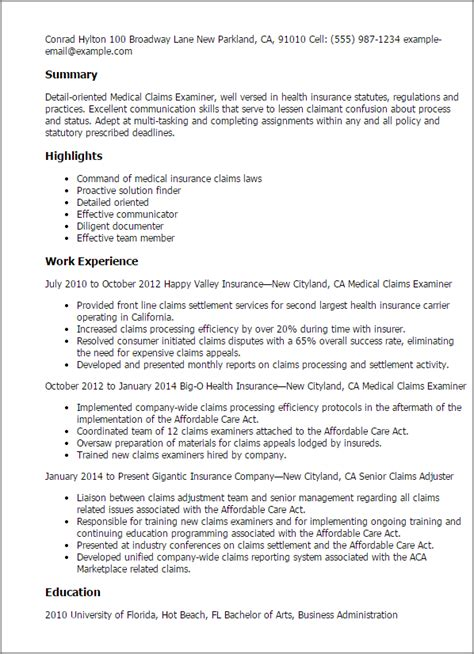 Claims Manager Cover Letter by 1 Claims Examiner Resume Templates Try Them Now Myperfectresume