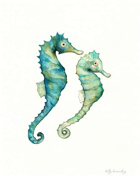 items similar to seahorse love watercolor print teal