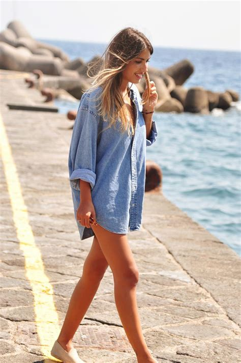 beach style beach cover up outfit ideas denim shirt high sandals