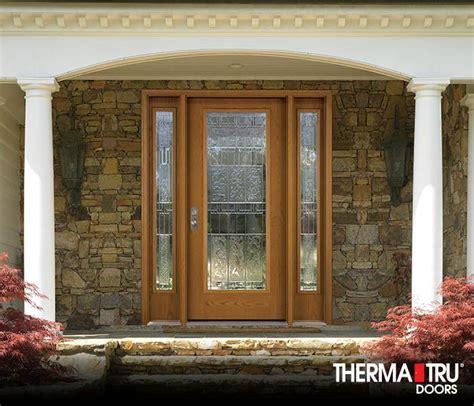 Therma Tru Exterior Doors Fiberglass Therma Tru Fiber Classic Oak Collection Fiberglass Door With Sedona Decorative Glass Fiber