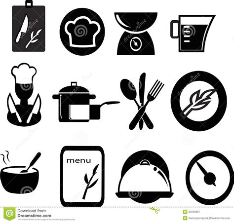 Fast Food Kitchen Design restaurant and cooking icons royalty free stock