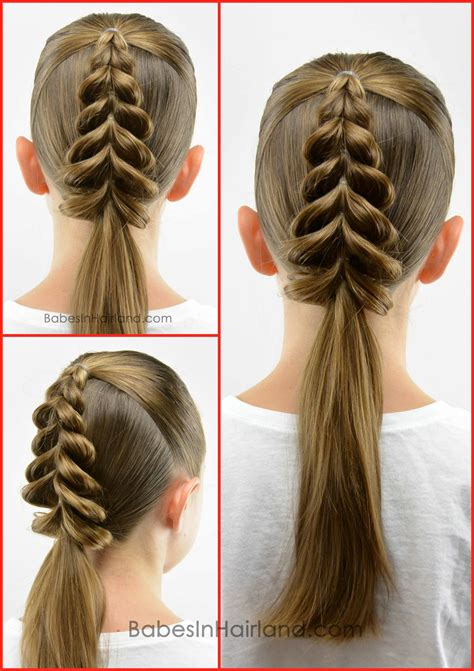 christmas tree girls hair do tree pull through braid in hairland