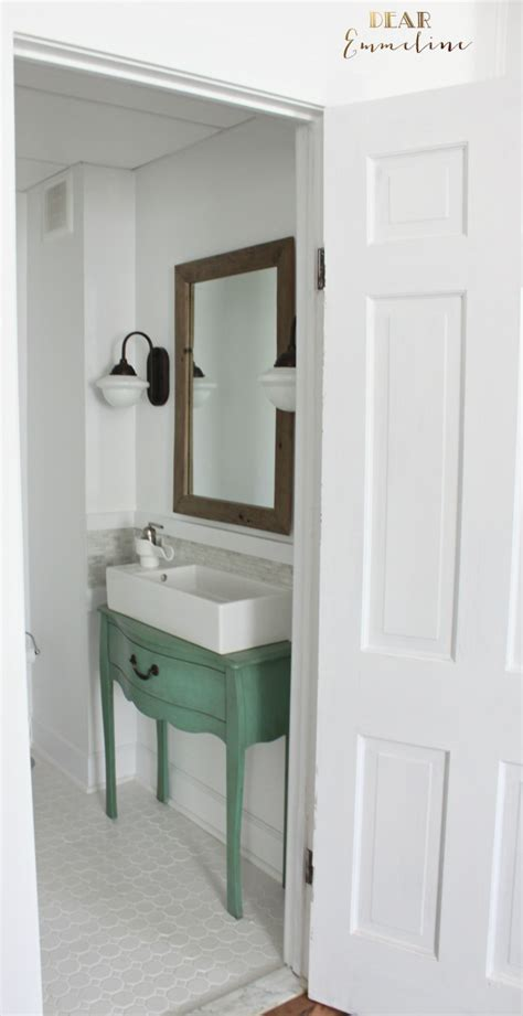 Diy Bathroom Mirror Ideas by Narrow Half Bathroom Reveal 1910 Home Renovation