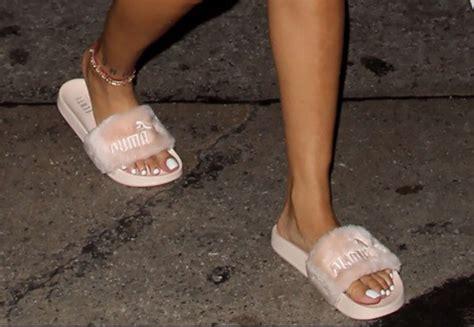 Sandal Fur Slide Fenty Rihana Pink shoes fenty fur sandals wheretoget