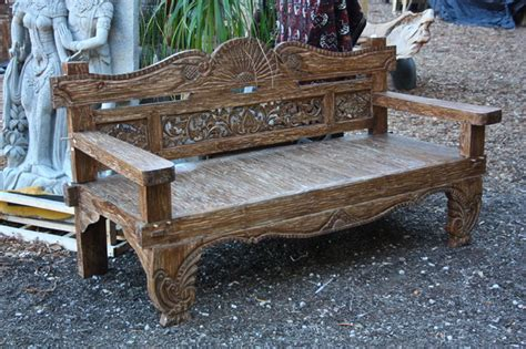 carved teak bench hand carved teak bench from bali eclectic indoor