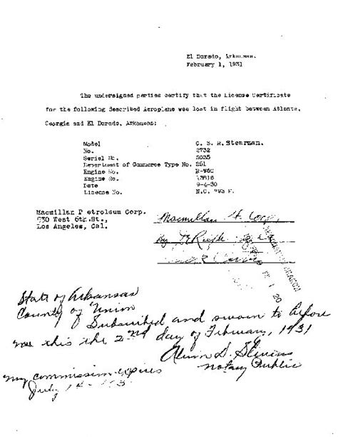 certification letter of lost the stearman model c 3r nc793h page of the davis monthan