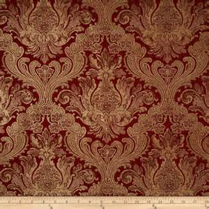 Designer Upholstery Fabric By The Yard Covington Balenciaga Damask Chenille Jacquard Antique Red