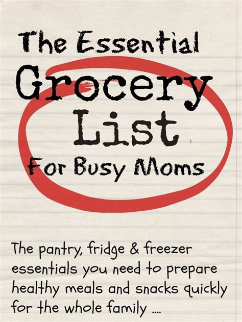 printable grocery list for busy moms essential grocery list for busy moms with free downloads