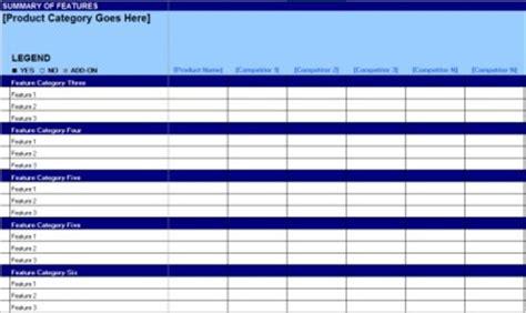 Free Competitive Matrix Feature Comparison Chart 280 Group Competitive Matrix Template