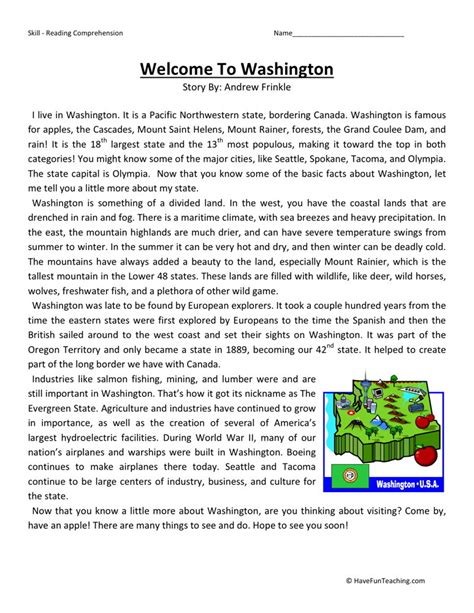 Fourth Grade Reading Worksheets by Reading Comprehension Worksheet Welcome To Washington