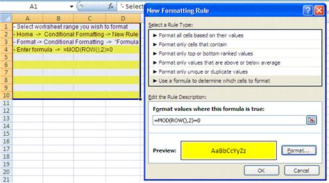 conditional format excel 2007 entire row shade alternate rows conditional formatting