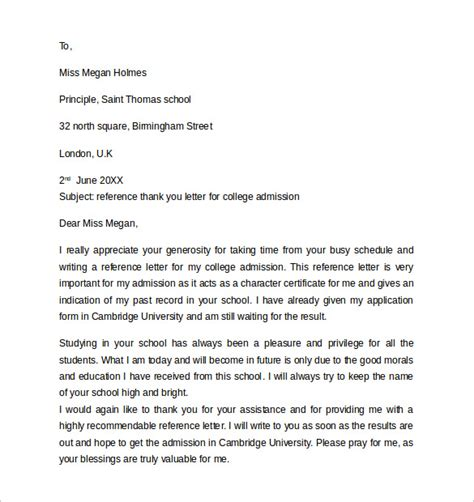 Thank You Letter For With References sle reference letter format 13 free