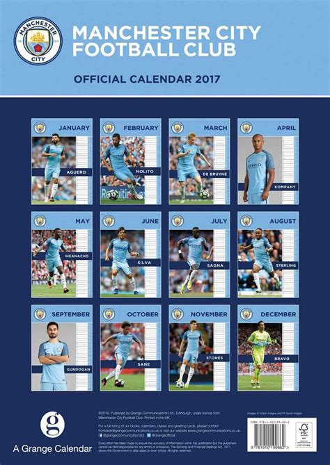 Calendario Manchester Calendario 2018 Manchester City Europosters It