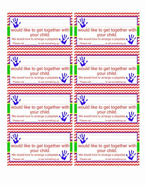 Playdate Cards Printable Template by Heard Of Playdate Business Cards Template