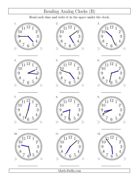 Analog Clock Practice Worksheets by Reading Time On 12 Hour Analog Clocks In 1 Minute