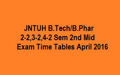 Jntu Mba 1st Sem Results 2016 by Jntu Hyd B Tech B Pharmacy 2 2 3 2 4 2 Sem 2nd Mid