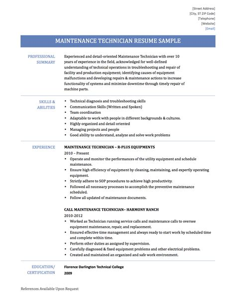 Maintenance Mechanic Resume by Maintenance Technician Resume Skills Resume Ideas