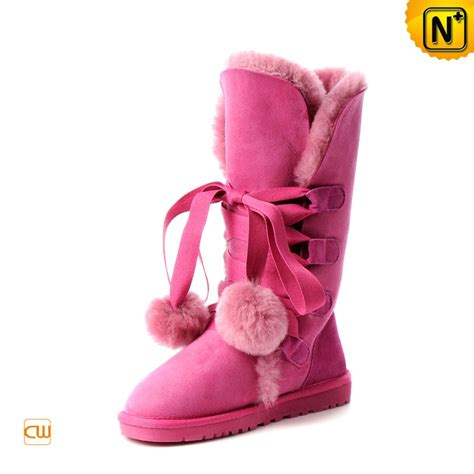 pink shearling lined ankle snow boots cw314411