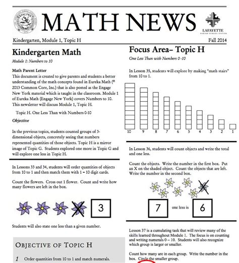 Parent Letter Eureka Math Kindergarten Module 1 Topic H Parent Newsletter Developed By Eureka Math Kindergarten