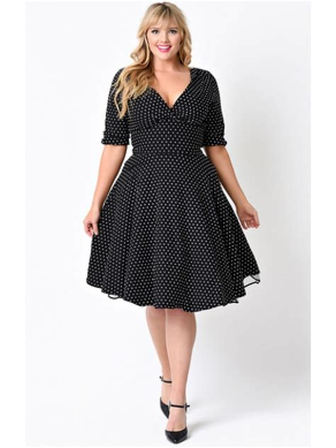 Black Big Dot Dress 20651 vintage delores dress